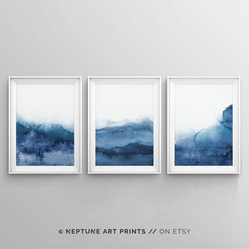 Digital art, set of 3 navy blue abstract art prints