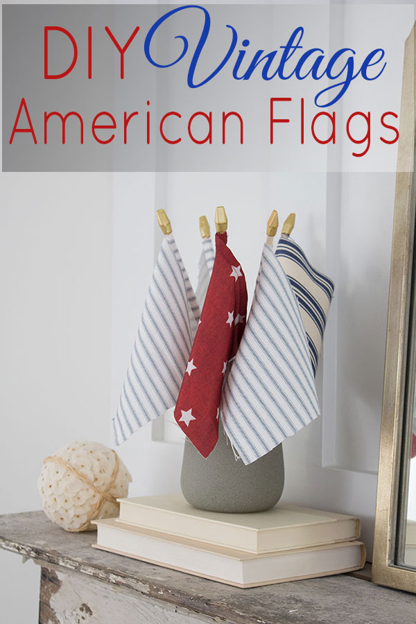 DIY American Flag craft project made from vintage style fabric, SO cute and SO easy to make!!