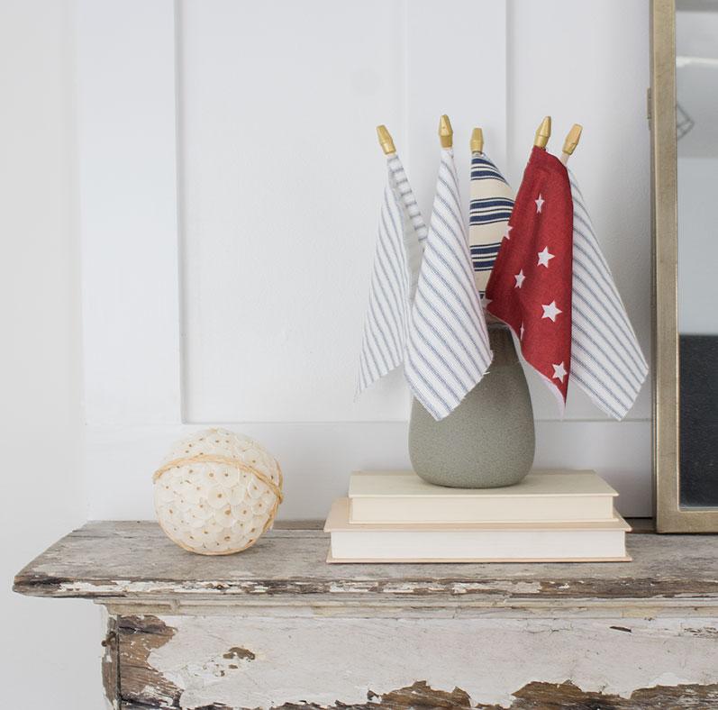 tickig stripe fabric DIY american flag craft