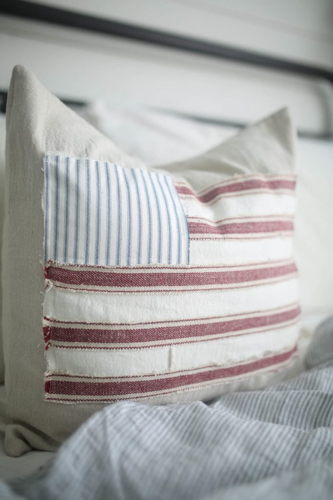 farmhouse style american flag pillow cover