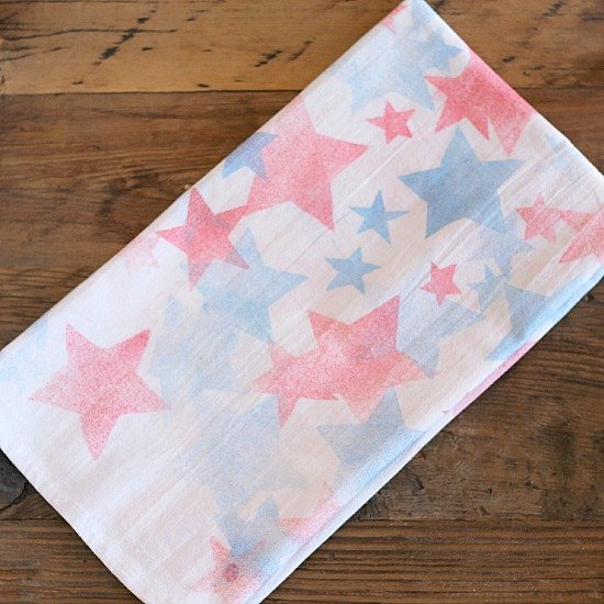 red white and blue stars tea towel how to