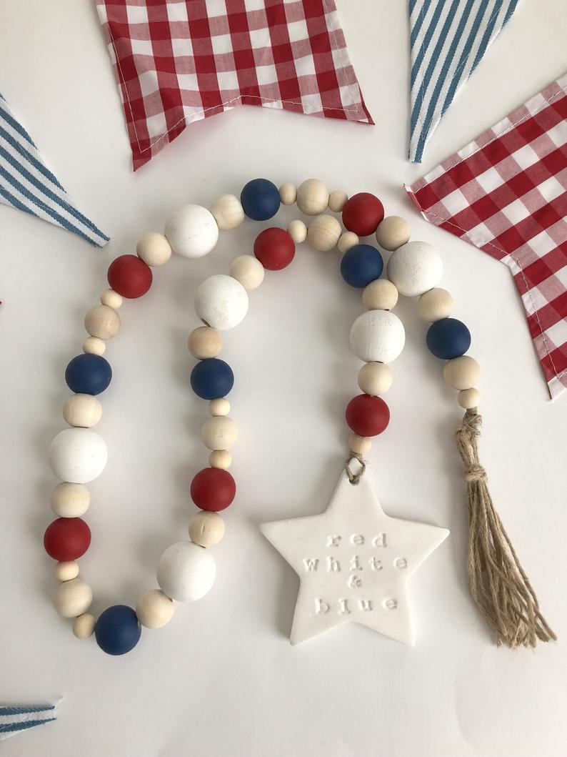 red white and blue wood bead garland