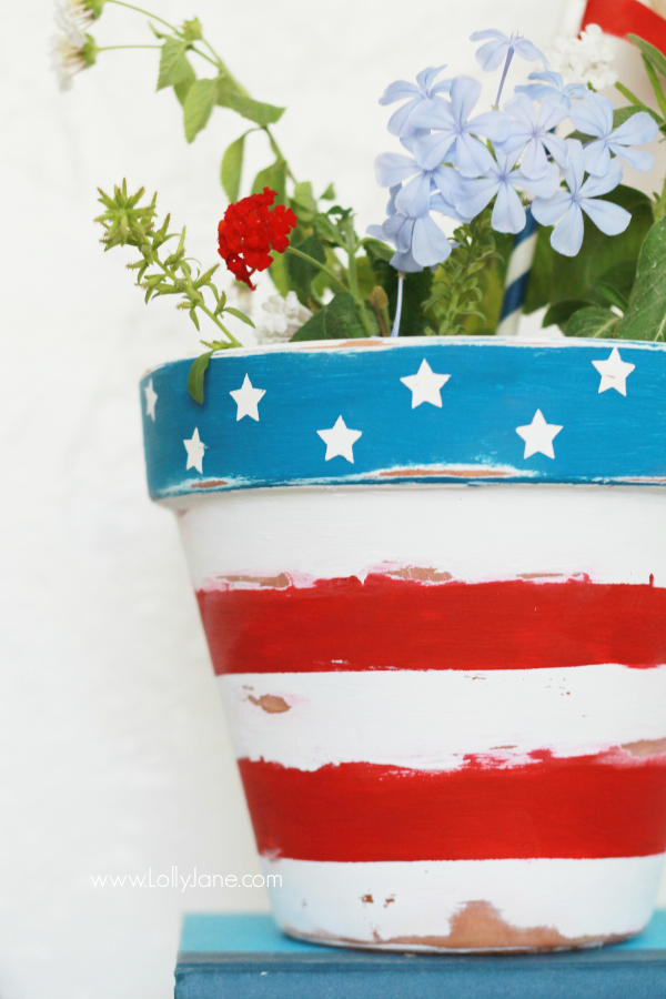 Stars and Stripes flower pots DIY