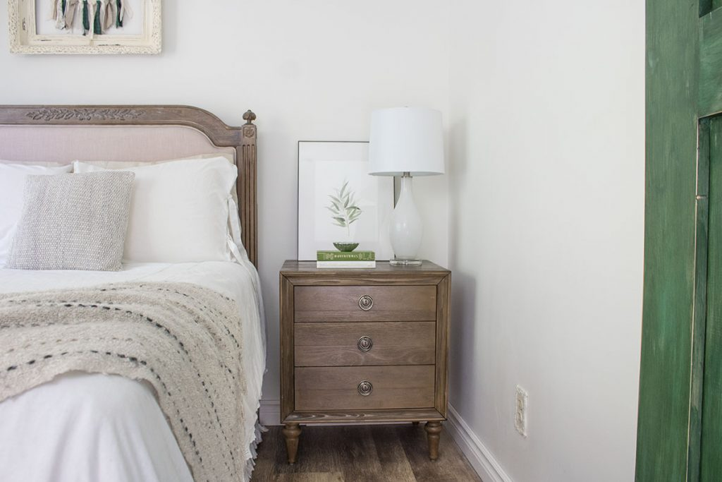 nightstand vignette bedroom decor