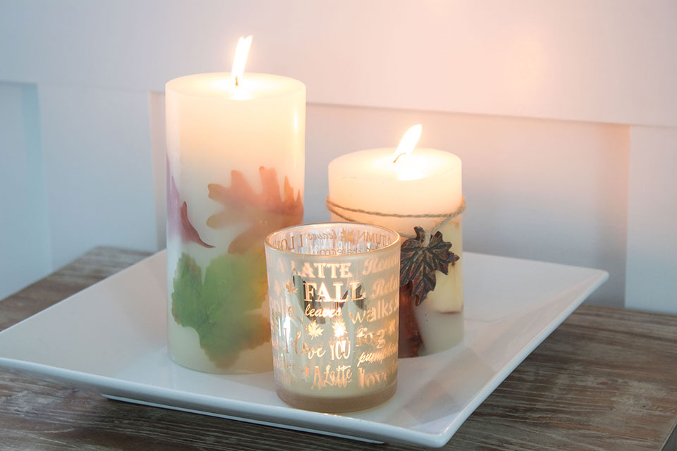 fall candles pillar and tealight votive holders, perfect inexpensive fall decorating ideas