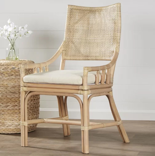 cane and bamboo light colored dining chairs