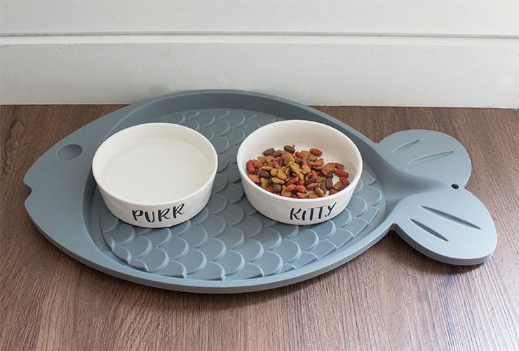 cute cat bowls and mat