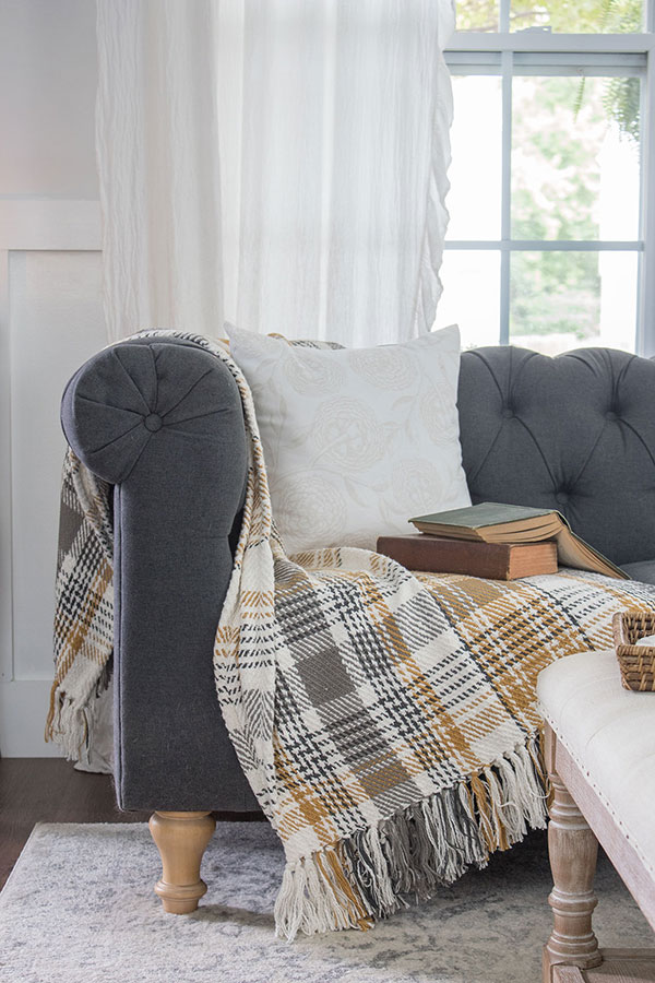 fall home decor, cozy plaid throw blanket it gray and soft orange