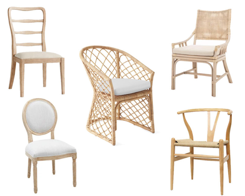 light colored dining chairs that will stand the test of time