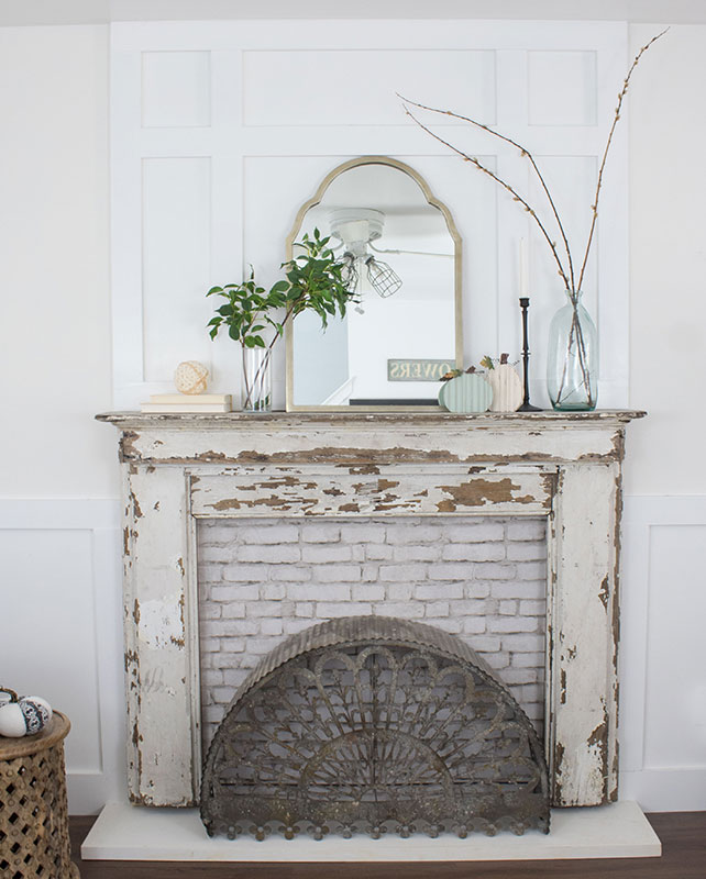 neutral fall decorating ideas for the mantel