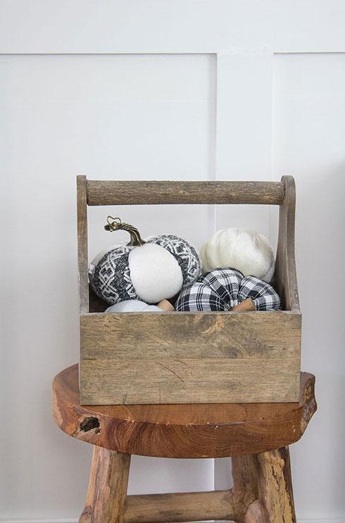 plaid fabric pumpkins