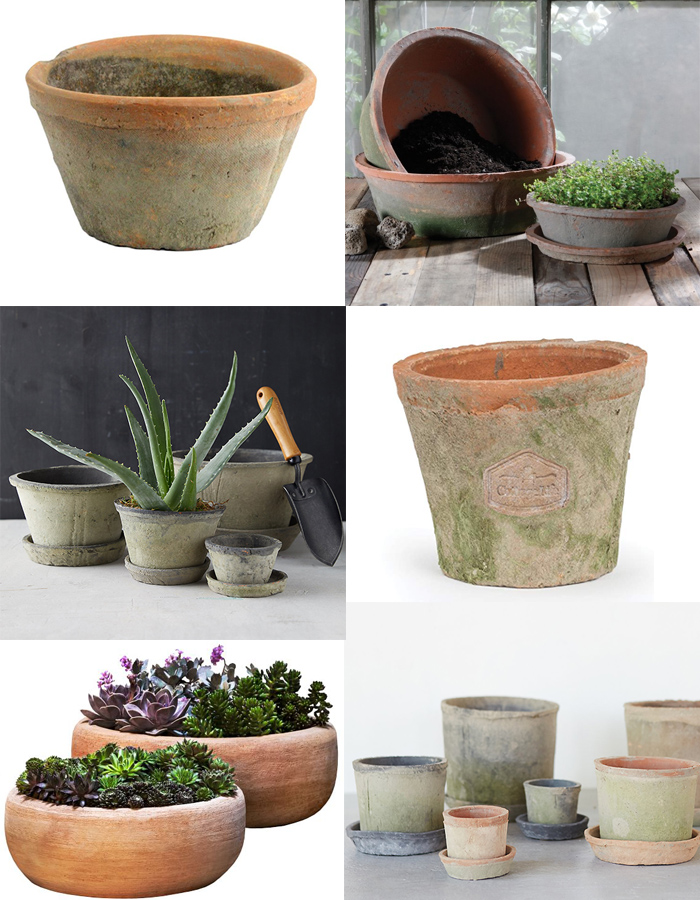 Rustic aged terra cotta clay pots and planters