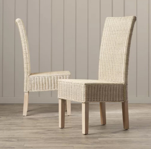 white washed wicker chairs