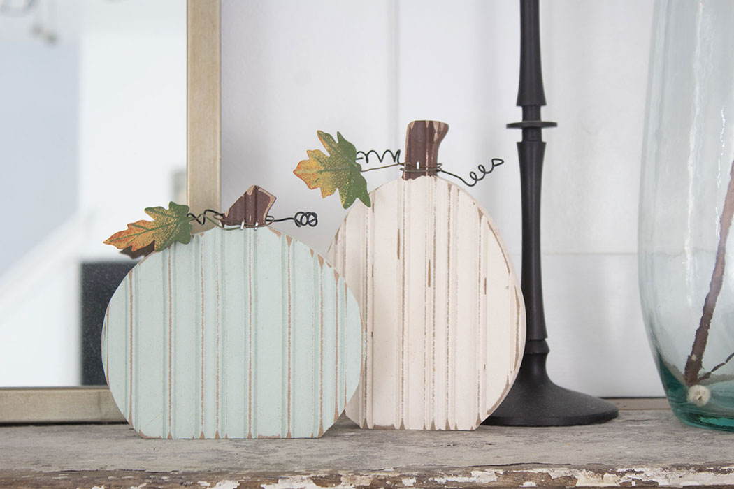 wooden pumpkins white and blue