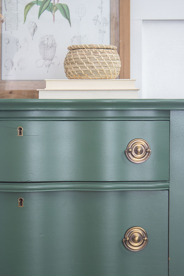 before and after furniture - green painted dresser