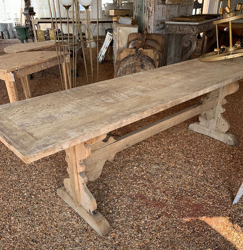 lage wood table with a natural finish