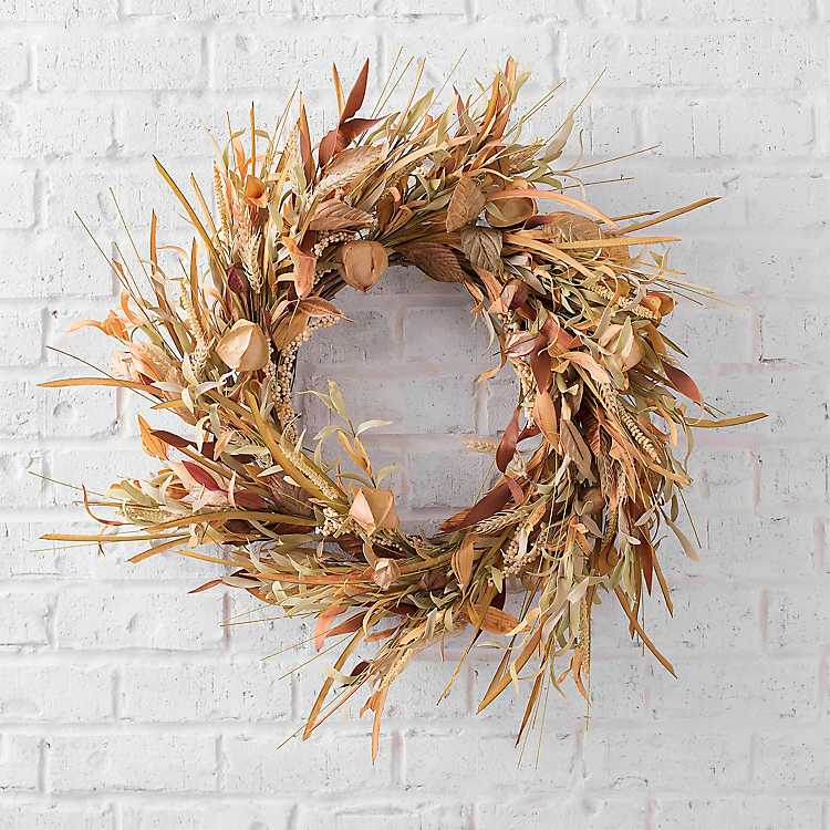 natural fall wreath with wheat and leaves