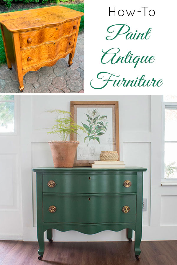 How to paint vintage furniture, serpentine green painted dresser before and after !