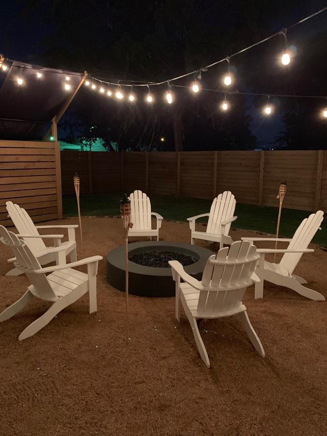 backyard firepit and string lights