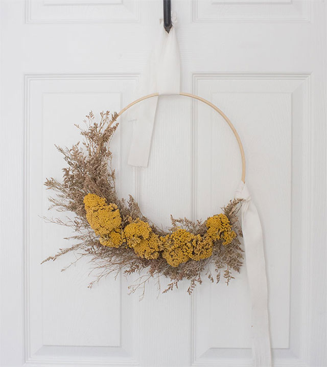 Dried floral wheat wreath how-to