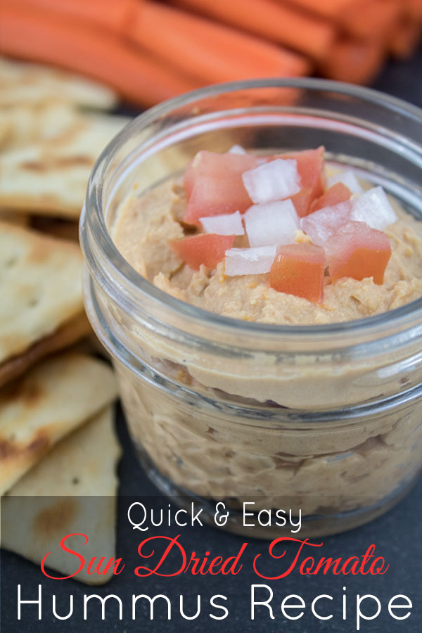 Quick and easy sun dried tomato hummus recipe, this one is my favorite!