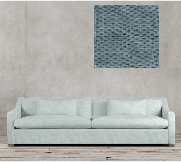blue sofa in belgian linen fabric