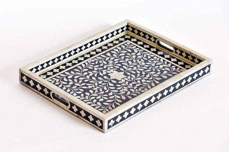 decorative tray with bone inlay
