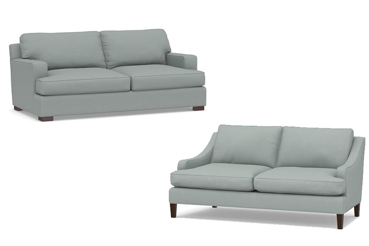 designer sofas, brushed blue fabric
