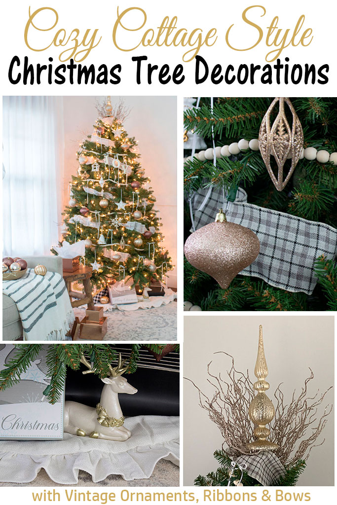 Christmas tree decorating ideas, ornaments, ribbons, and vintage ornaments!