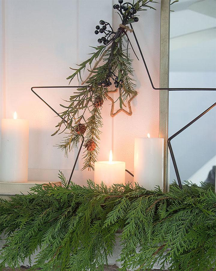 Christmas mantel decor with fresh greenery