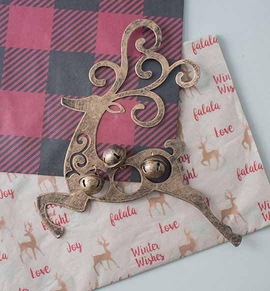 Gift wrapping ideas, Christmas gift bags with matching tissue paper and cute ornament