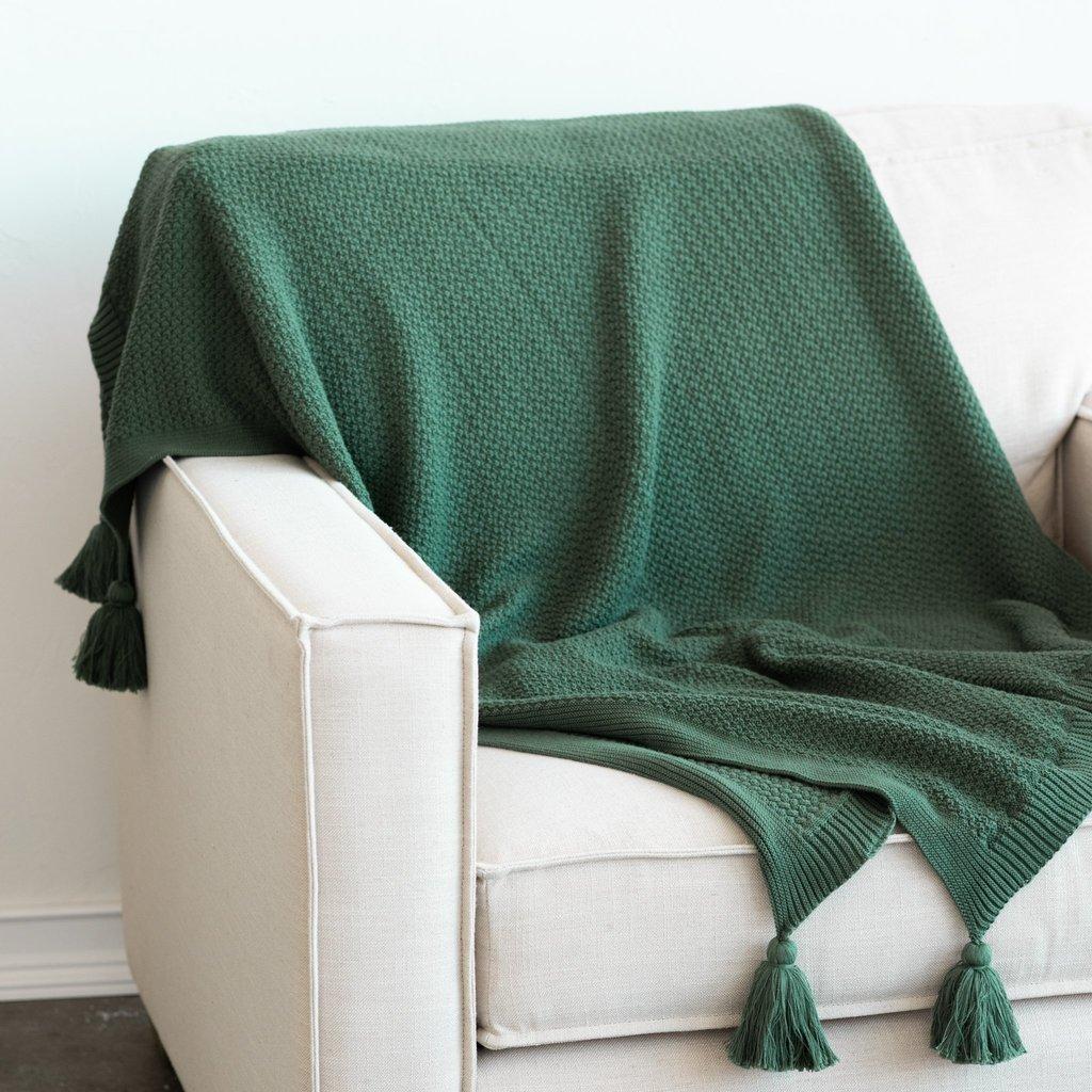 hunter green throw blanket