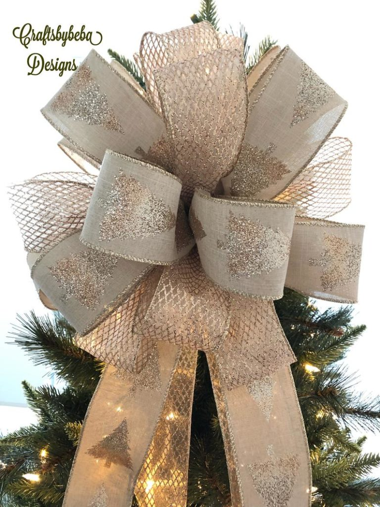 natural gold bow tree topper