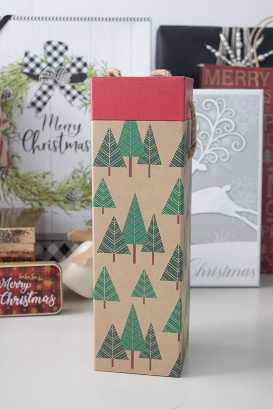 Christmas wine bottle bag and box
