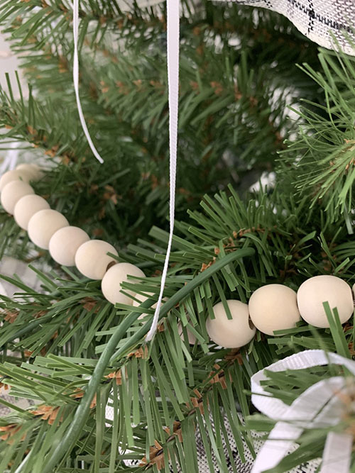 wood bead garland for Christmas tree