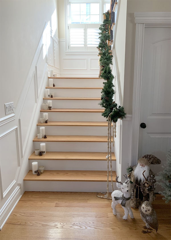 Christmas candles on the stairs