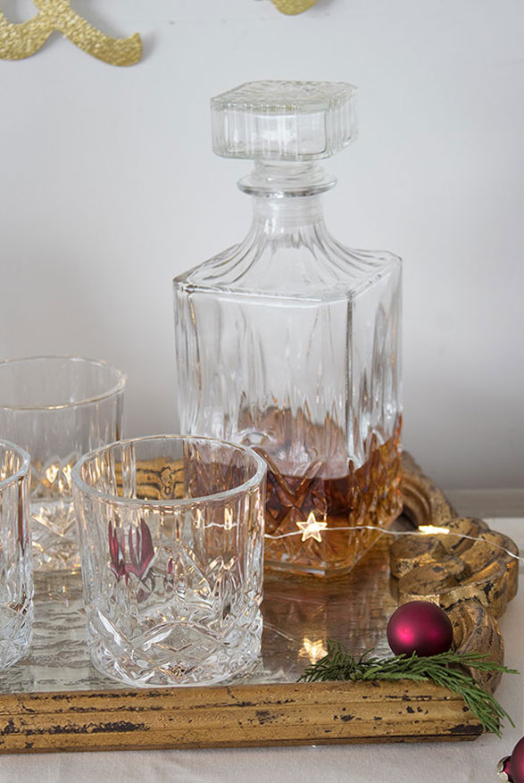 Crystal whiskey decanter and glass set for serve yourself holiday drinks at home