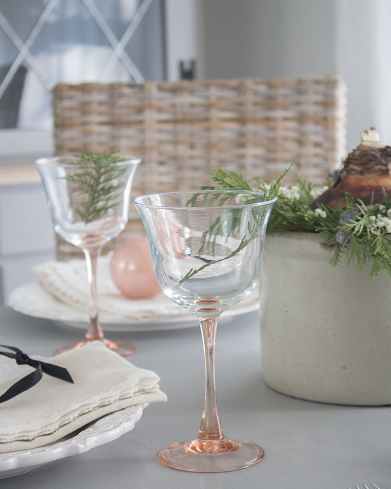 vintage glassware with blush colored stems for my Christmas table