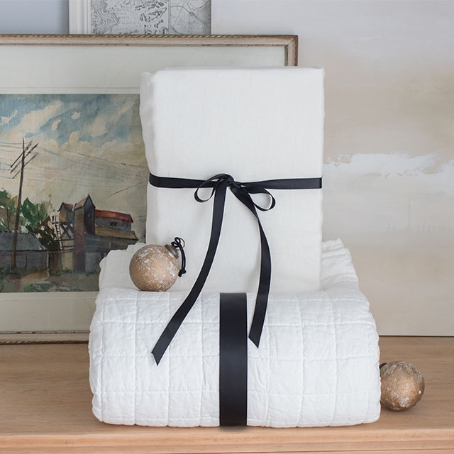 Belgian linen in winter white