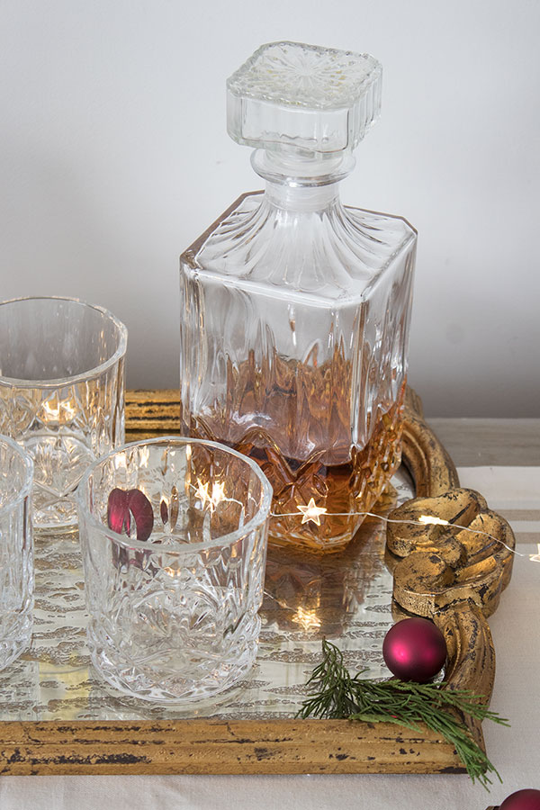 At home holiday drink stations, crystal barware