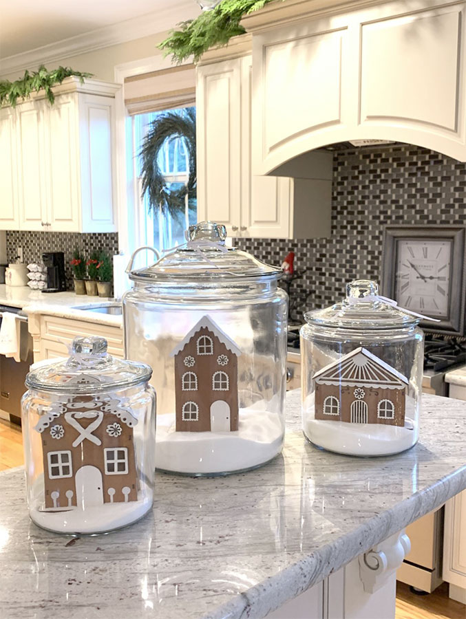 gingerbread houses in glass jars