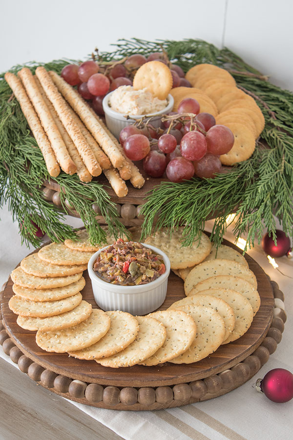 Round wooden serving trays for appetizers.