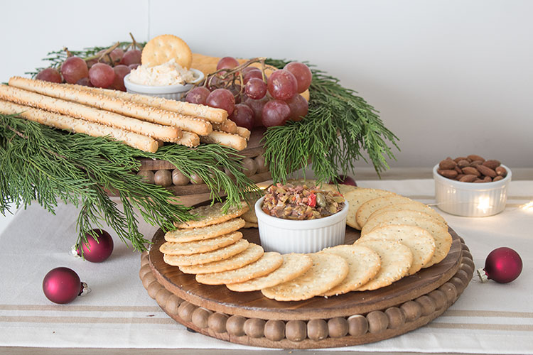 Stacked serving trays for appetizers and drinks