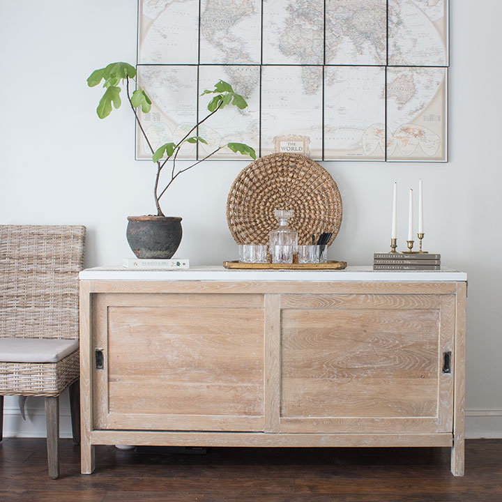 light wood sideboard with white top and whitewashed finish