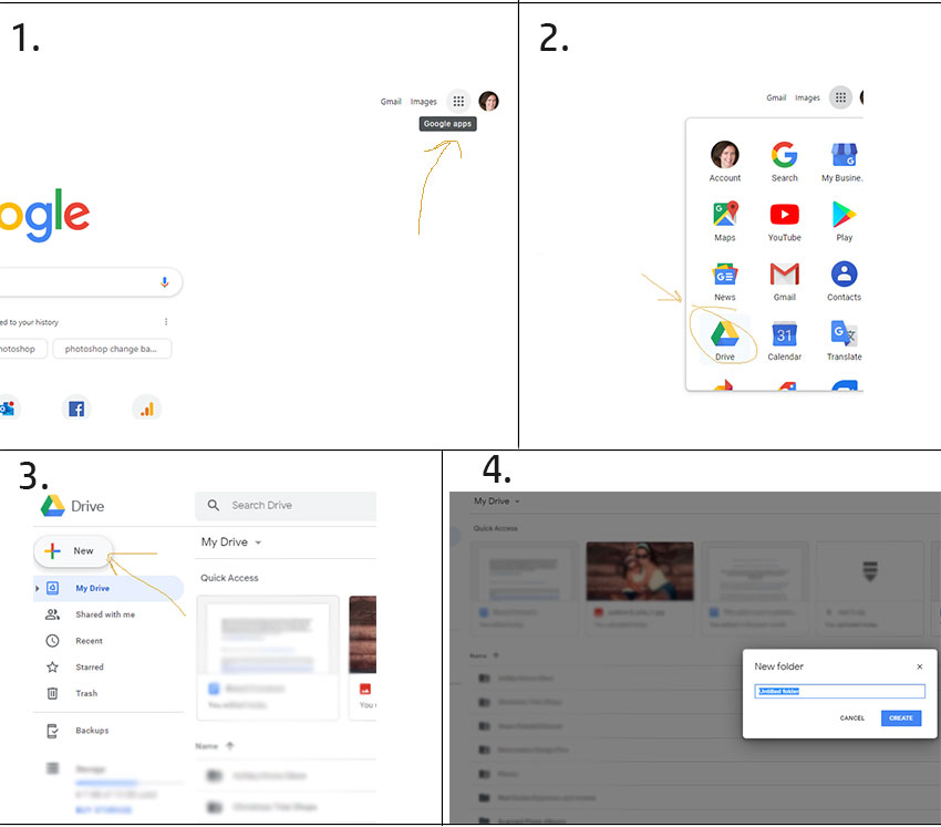 how to create a new folder in google drive