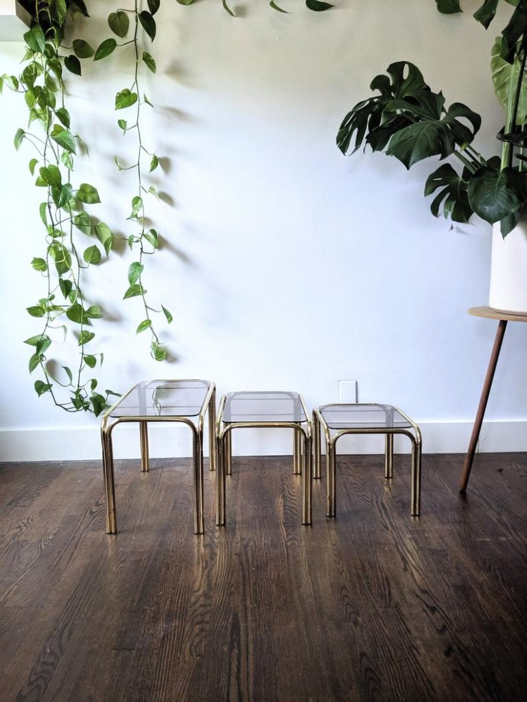 Etsy home furniture - antique brass nesting tables