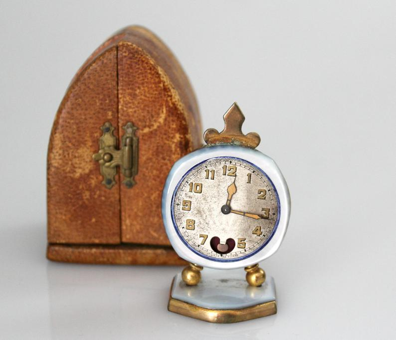 Antique vintage clock with custom leather case, French or Swiss. - unique Etsy home decor finds!