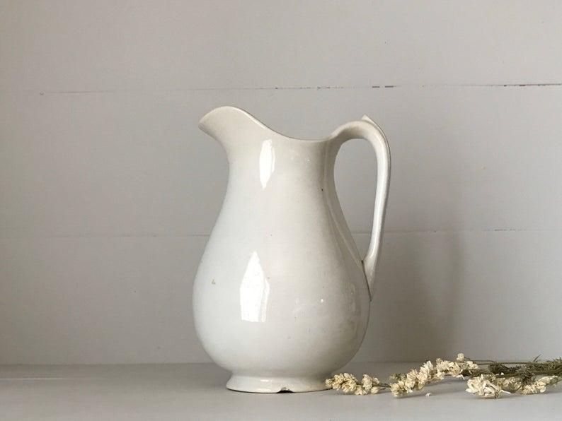 white vintage ironstone pitcher