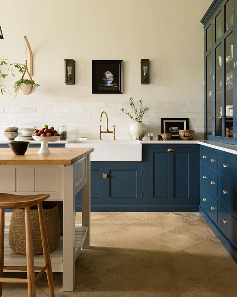 kitchen design with dark blue cabinets