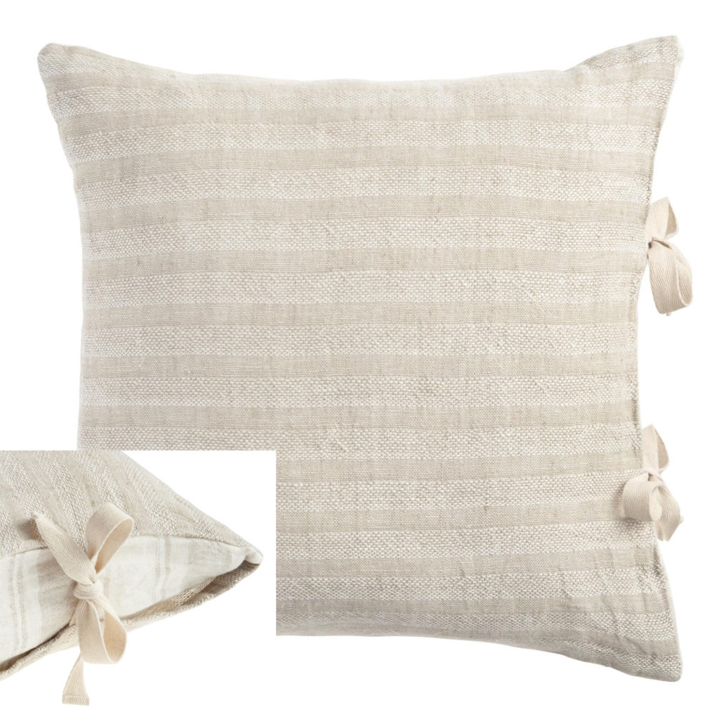 linen woven striped throw pillow with side ties